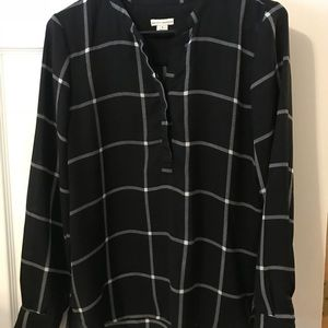 Black window pane blouse